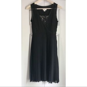Loft Black dress lace detail and Pleated skirt